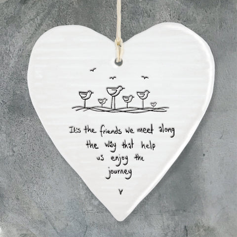 east of india white porcelain hanging heart, friends we meet