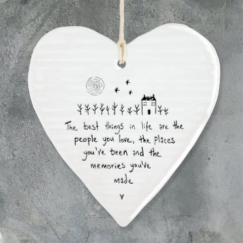 east of india white porcelain hanging heart, best things in life are the people you love
