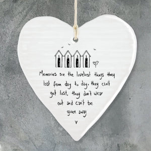 east of india white porcelain hanging heart, memories are the loveliest things