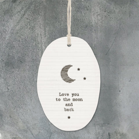 East of india white porcelain hanger love you to the moon and back