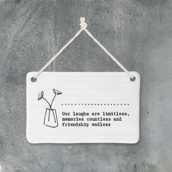 East of india porcelain hanger our laughs are limitless