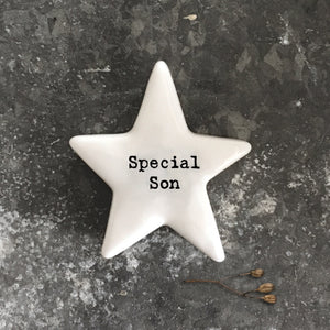 East of India porcelain star shaped token which reads:  'Special Son.'  These tokens are the perfect little keepsake gift.