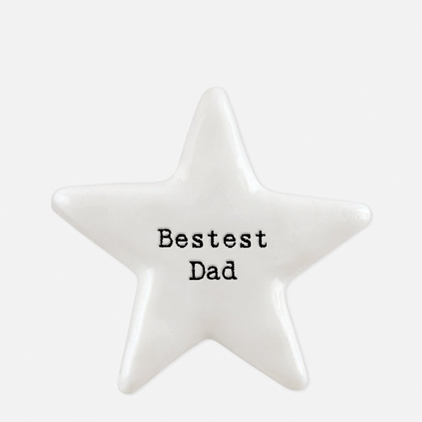 East of India porcelain star shaped token which reads:  'Bestest Dad.'  These tokens are the perfect little keepsake gift.