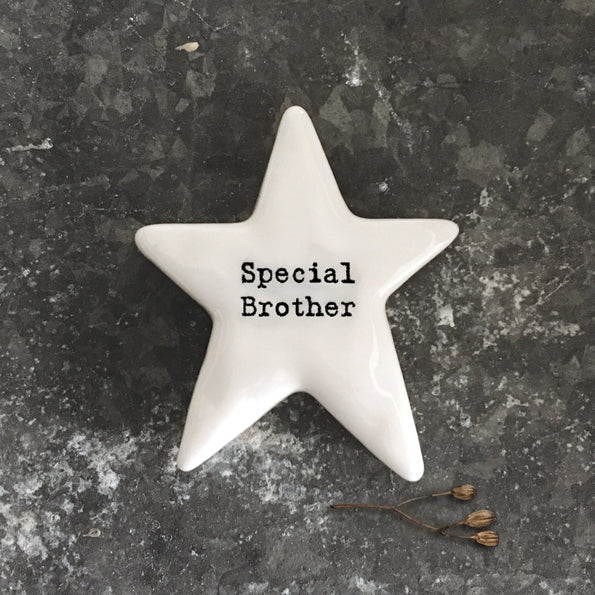 East of India porcelain star shaped token which reads:  'Special Brother.'  These tokens are the perfect little keepsake gift.