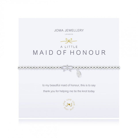 Joma Jewellery 'a little' bracelet with sparkly bow charm, presented on a sentiment card which reads:  'To my beautiful maid of honour, this is just to say thank you for helping me tie the knot today'
