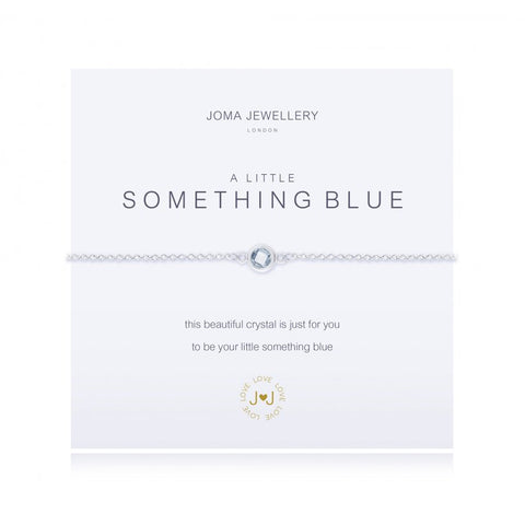 Joma Jewellery 'a little' bracelet with Cubic zirconia gemstone charm, presented on a sentiment card which reads:  'This beautiful crystal is just for you to be your little something blue'