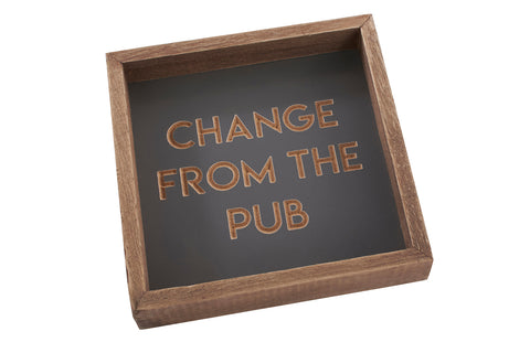 Richard Lang Derby - Quirky wooden tray to keep his bits and bobs tidy. Design reads:  'Change from the pub'