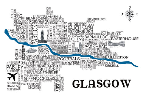 A4 Print  featuring 'word art' map of Glasgow detailing many districts and surrounding areas as well as famous illustrated landmarks including Ibrox Stadium, Glasgow University, Glasgow Cross and Celtic Park.