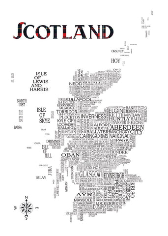 A4 Digital Print featuring typographical map of Scotland detailing cities, towns, villages and more.