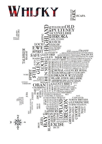 A4 Digital Print featuring typographical map of Scotland detailing distillery names from around the country as well as a few popular terms associated with Whisky distilling.