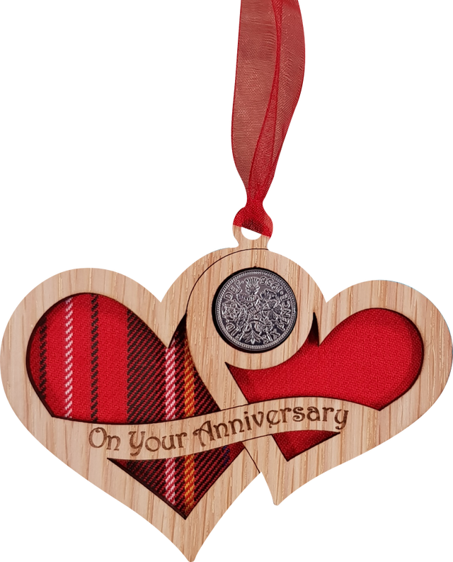 Lucky sixpence on hanging wooden hearts with tartan - on your anniversary
