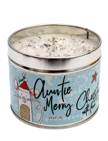 Gorgeous hand finished, scented candle with added sparkle from Best Kept Secret's Christmas range in collaboration with designer Tracey Russell. This beautiful tin candle reads 'Auntie, Merry Christmas with love'.  Scent: Snowflake
