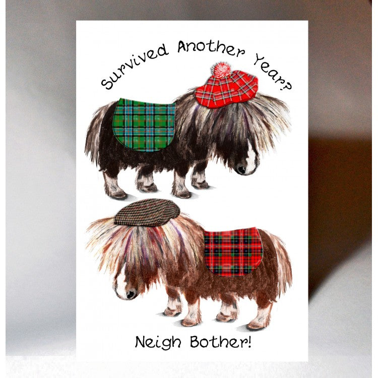 Scottish Birthday card with touch of tartan, Shetland ponies and Scottish slang - Neigh Bother