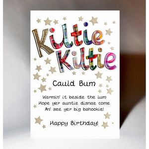 Scottish Slang Birthday Card with touch of tartan and nostalgic song - Kiltie Kiltie Cauld Bum