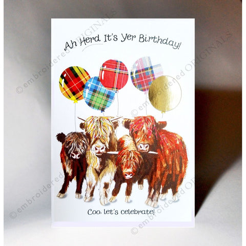 Scottish Slang Birthday Card with touch of tartan, highland coos and scottish slang