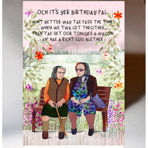 Scottish Slang Birthday Card with touch of tartan and Scottish slang poem - A Richt Guid Blether