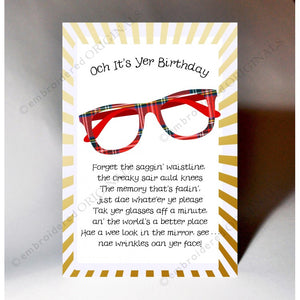 Scottish Slang Birthday Card with touch of tartan and poem with scottish slang