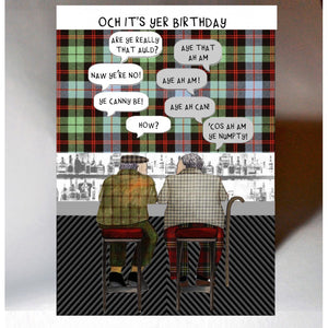 Scottish Slang Birthday Card with touch of tartan and auld men chatting