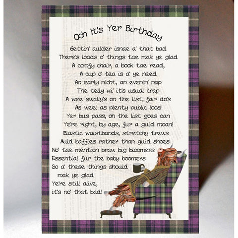 Scottish Slang Birthday Card with touch of tartan and poem about getting older - Scottish banter