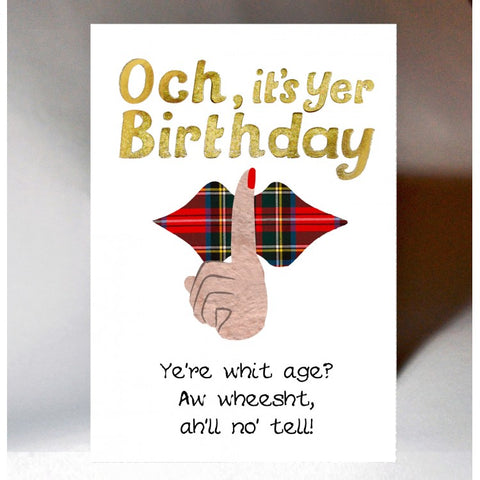 Scottish Slang Birthday Card with tartan design and Scottish banter - Wheest