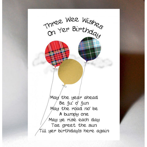 Scottish birthday card incorporating tartan balloons and humorous Scottish slang poem