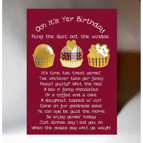 Scottish birthday card featuring tartan chocolates and Scottish slan poem