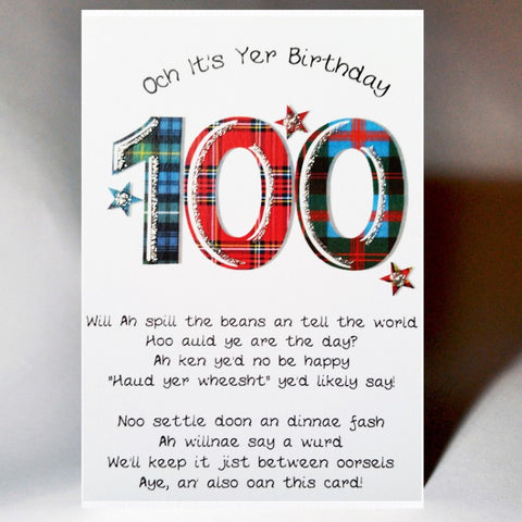 '100th' Birthday  Scottish birthday card incorporating a touch of tartan and Scottish banter