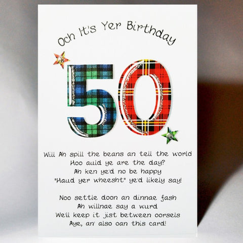 50th Birthday Card Scottish birthday card incorporating a touch of tartan and Scottish banter  Blank inside
