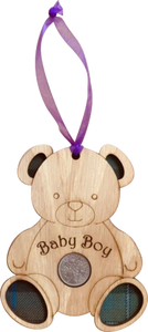 Baby Bot Lucky Sixpence on hanging wooden teddy with tartan