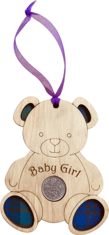 Baby Girl Lucky Sixpence on hanging wooden teddy with tartan