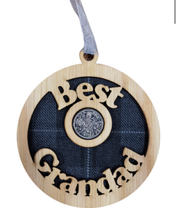 A unique keepsake gift with a Scottish twist.  The sixpence is mounted onto hanging oak veneered wooden decoration with tartan inserts, mounted on card and packaged in clear cellophane packets.  'Best Grandad' is cut out of the wood.