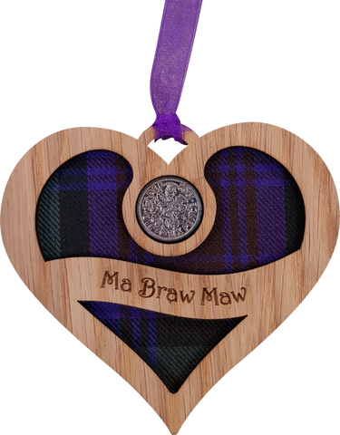 Lucky sixpence on hanging wooden heart with tartan - ma braw maw