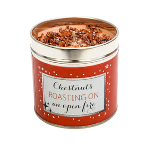 Gorgeous hand finished, scented candle with added sparkle from Best Kept Secret's Seriously Scented Christmas range with festive sentiment 'Chestnuts roasting on an open fire'.  Scent:   Festive, warm and a little spicy.
