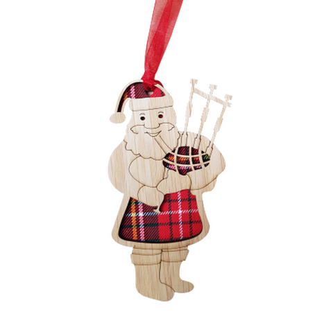 A unique keepsake Christmas decoration with a Scottish twist.  A wooden Santa with bagpipes and tartan inserts, mounted on card and packaged in clear cellophane packets.