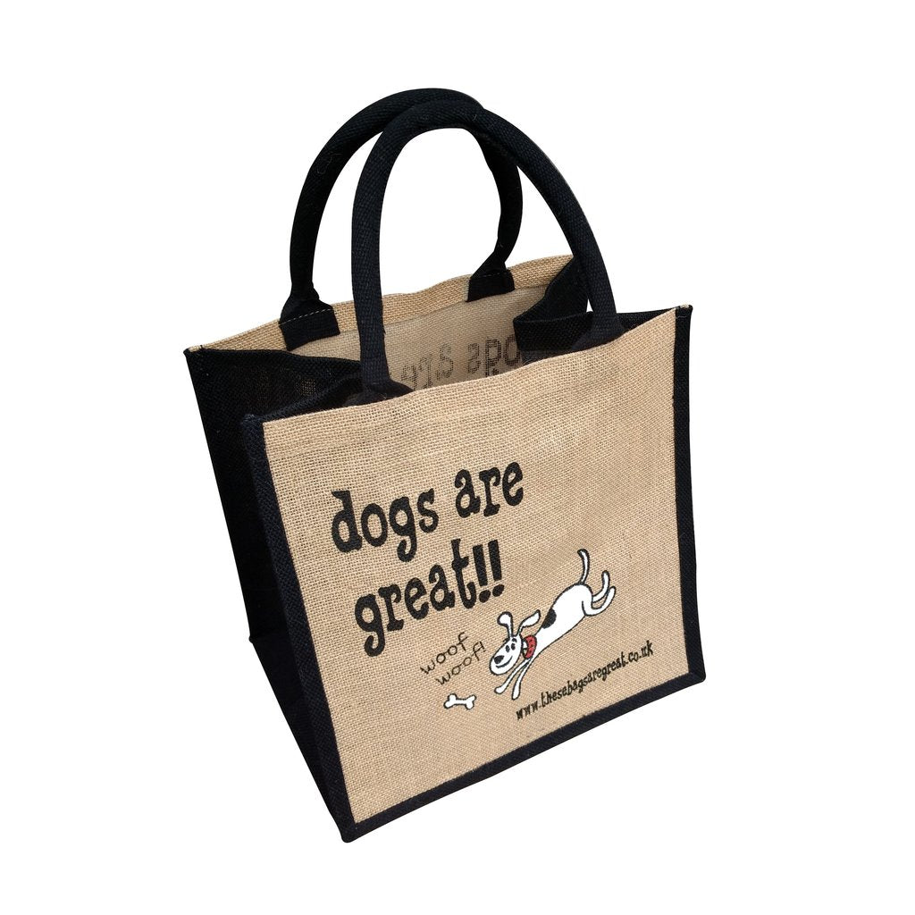Fun jute shopping bag which features a printed cartoon image of a Dog and the text 'Dogs are Great'