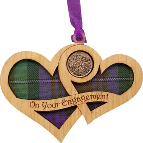 Engagement Lucky Sixpence on hanging wooden hearts with tartan