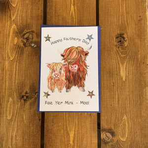 Scottish Father's Day Card featuring highland cow design and a touch of tartan.  The card reads:  'Happy Faither's Day fae yer mini - moo!'