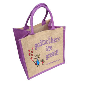 Fun jute shopping bag which features a printed cartoon image of a Lady and child and the text 'Godmothers are Great'