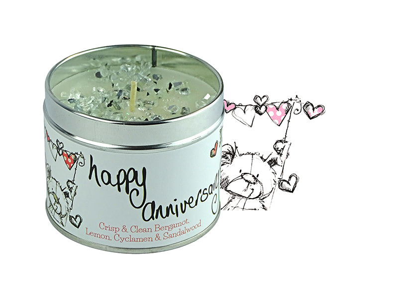 Gorgeous hand finished, scented candle with added sparkle from Best Kept Secret's Occasion range in collaboration with designer Tracey Russell.  Each candle has it's own sentiment.  The tin reads 'Happy Anniversary'