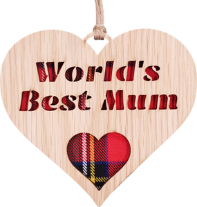 A unique keepsake gift with a Scottish twist.  A wooden heart with tartan inserts, mounted on card and packaged in clear cellophane packets.  The sentiment 'Worlds Best Mum' is engraved across the heart.