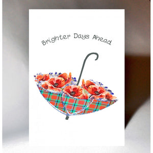 ***Price Includes Delivery ***  'Brighter Days Ahead'  Greeting card with umbrella design.