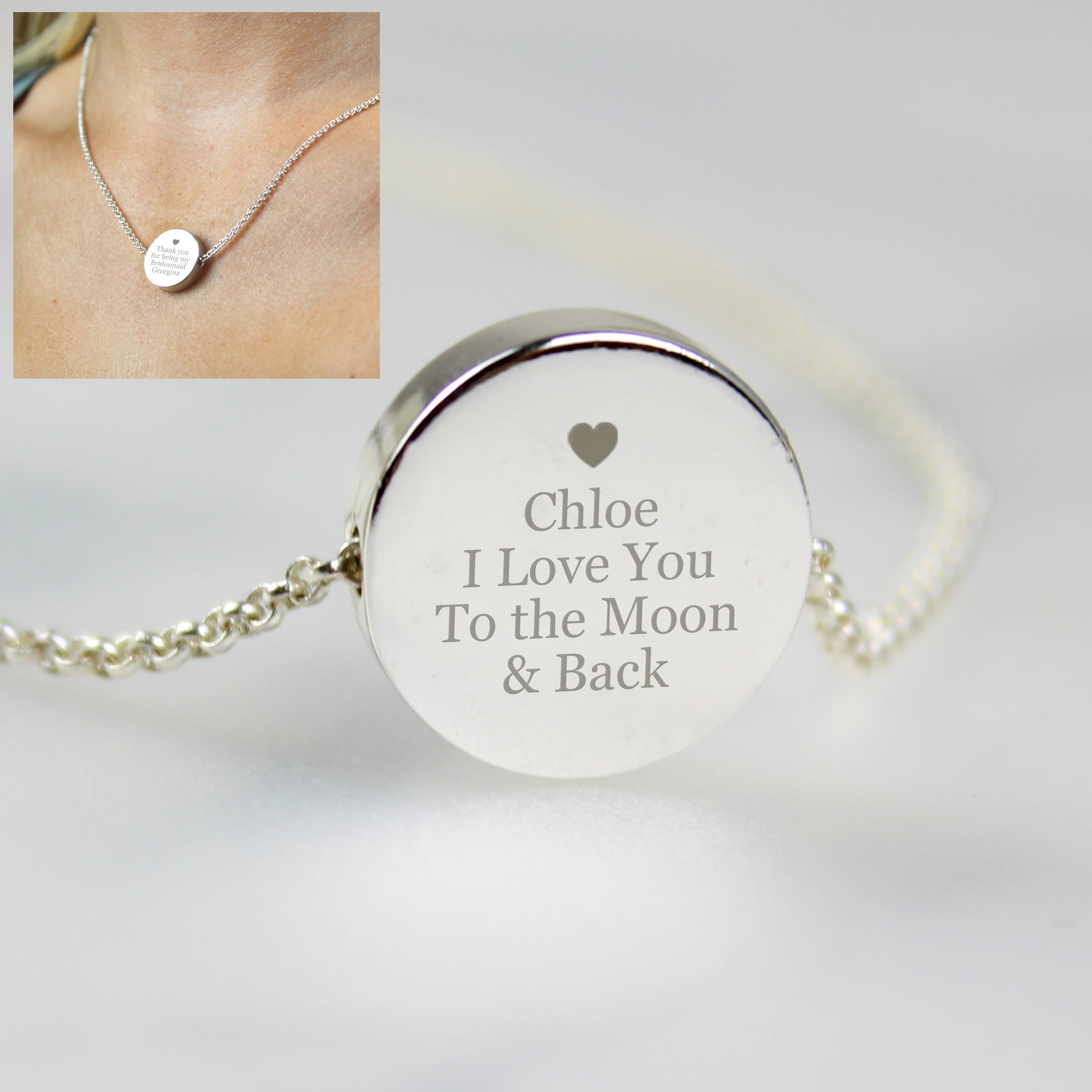 Personalised Disc Necklace with heart design