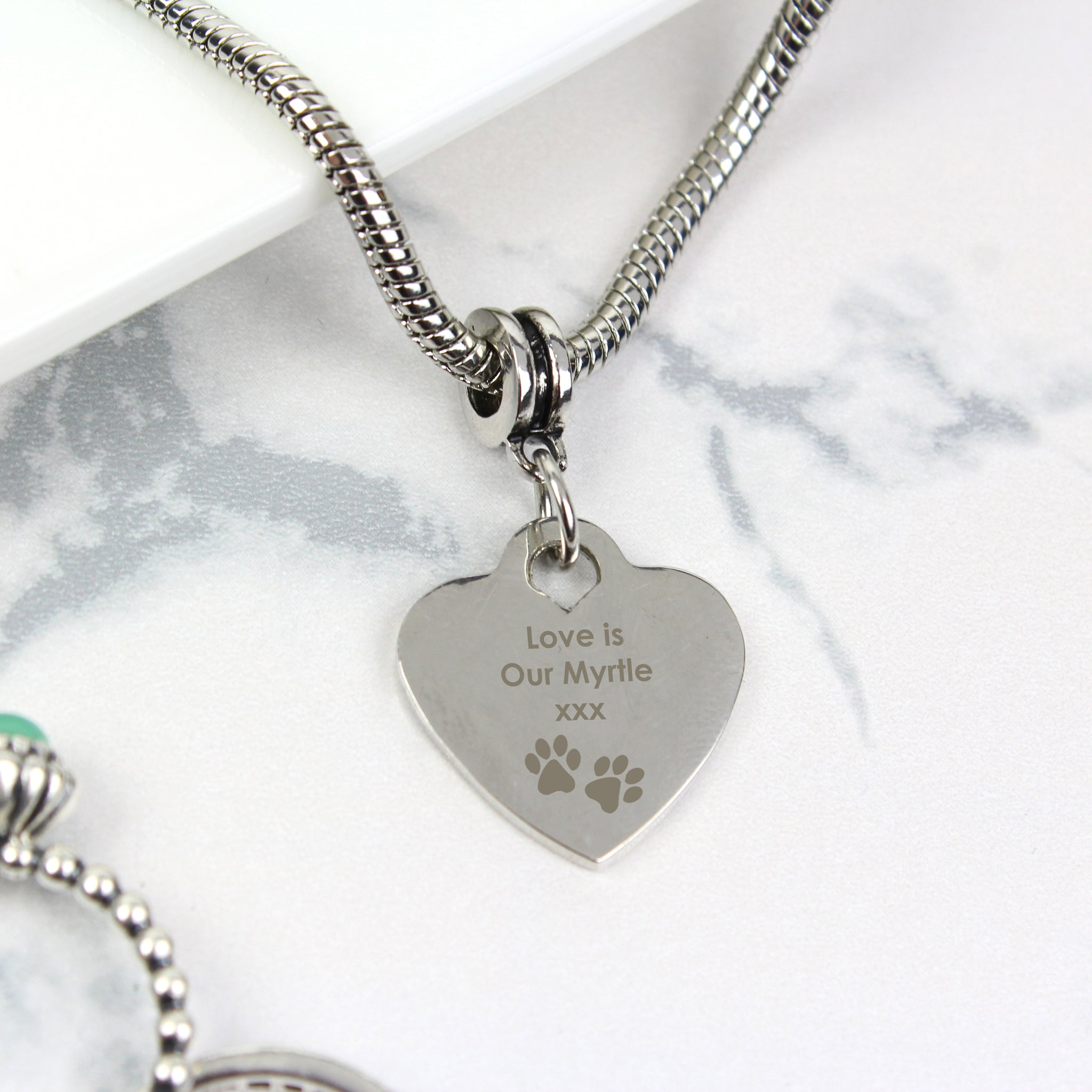 Personalised Paw Print Heart Charm Necklace