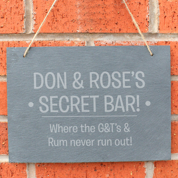 Slate hanging sign with natural, rustic string which can be personalised with your own choice of message