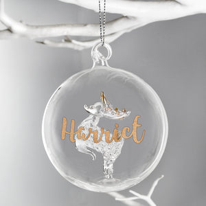 Beautiful personalised reindeer Christmas decoration, with pretty gold glitter name personalisation.  Spread some Christmas cheer to family and friends with a sparkly Christmas memento this year.   The baubale can be personalised with a name up to 11 characters.