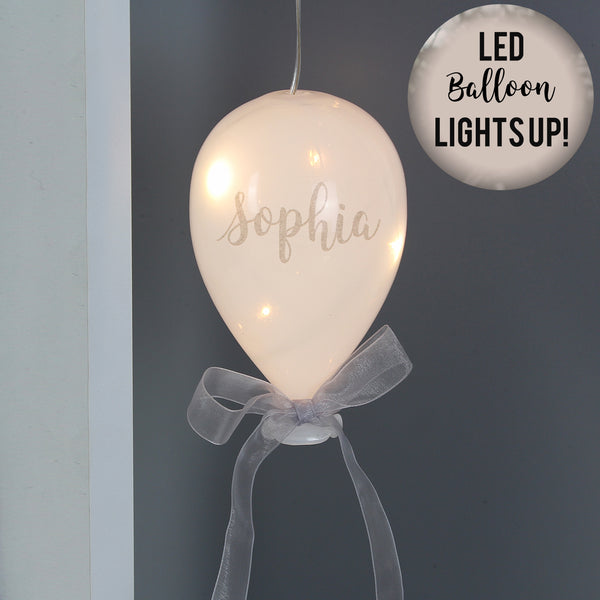 ***Price includes delivery***  This beautiful personalised LED hanging balloon to add some festive sparkle for your loved ones this Christmas.   Personalise the balloon with any name of up to 11 characters. Please avoid block capitals as it can make personalisation hard to read.