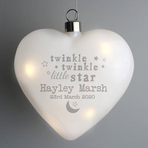 Beautiful personalised LED hanging heart, would make a lovely nightlight for your precious little ones nursery.  Personalise the front of your bauble with any name 2 lines of 20 characters per line, line 1 is mandatory.