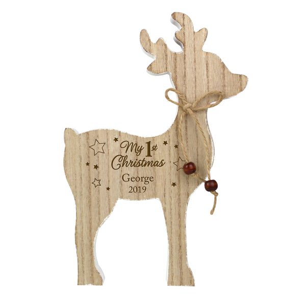 "Adorable personalised My 1st Christmas wooden reindeer decoration.   The rustic reindeer can be personalised:  Line 1 - Up to 20 characters long (Personalisation will appear as entered) Line 2 - up to 4 characters long (perfect for a date/year)  ""My 1st Christmas"" is fixed text."