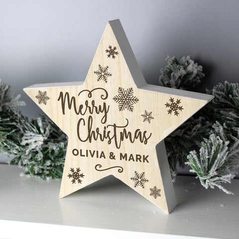 Adorable personalised Christmas wooden star decoration to add a touch of shabby chic to your Christmas decor this year. The decoration features a small piece of twine with small wooden beads.  The rustic star can be personalised with a one line up to 15 characters.
