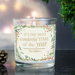 Beautiful personalised scented candle with sweet sentiment 'It's The Most Wonderful Time Of The Year' as fixed text.  This candle can be personalised with 1 line - up to 20 characters.